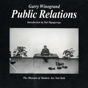 "Public Relations is a distillation of a photographic project begun by Garry Winogrand in 1969 when he was awarded a Guggenheim Fellowship to photograph what he called ""the effect of media on events."" With his characteristic zeal, passion, spontaneity and intensity, Winogrand photographed an array of public events including museum openings, press conferences, sports games, demonstrations, award ceremonies, a birthday party and a moon shot. The photographs depict our emerging dependence on the media as well as how the media changes and sometimes even creates the event itself. First published to accompany a 1977 exhibition at The Museum of Modern Art, New York."