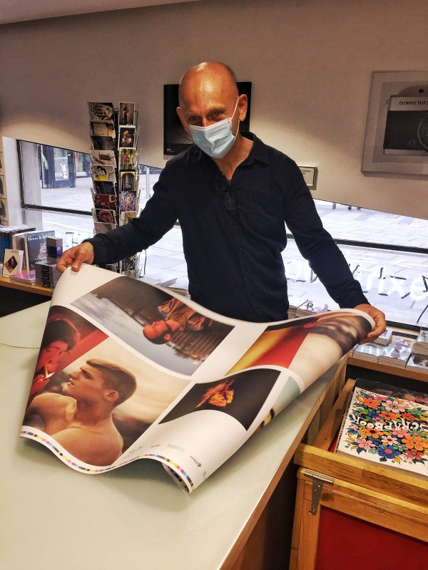 Enda Bowe checking print proofs for Love's Fire Song
